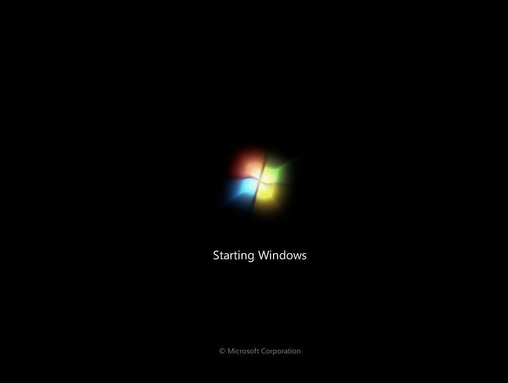 windows 7 is now starting windows