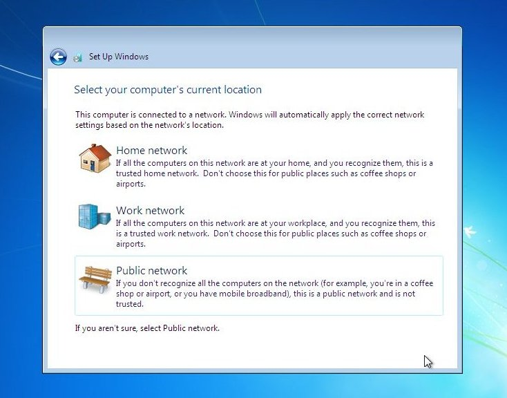 Windows 7 setup will now connect to your network , and setup required ...